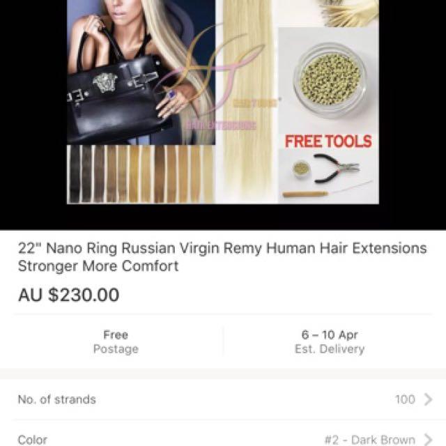 "22"" Nano Ring Russian Hair Extensions"