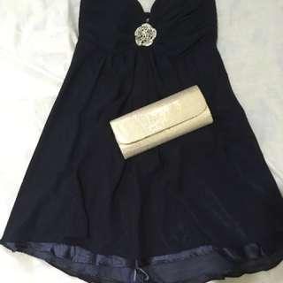 Dark Blue Cocktail Gown