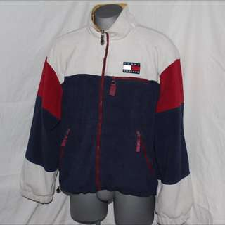 Tommy Hilfiger Fleece Jacket, with Crest Logo Zipper and Big Hilfiger across the back
