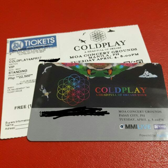 2pcs VIP ticket Coldplay Concert