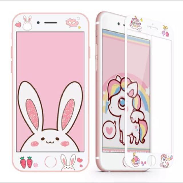 預購可愛全屏覆蓋6/6s鋼化膜iphone7玻璃膜7plus卡通