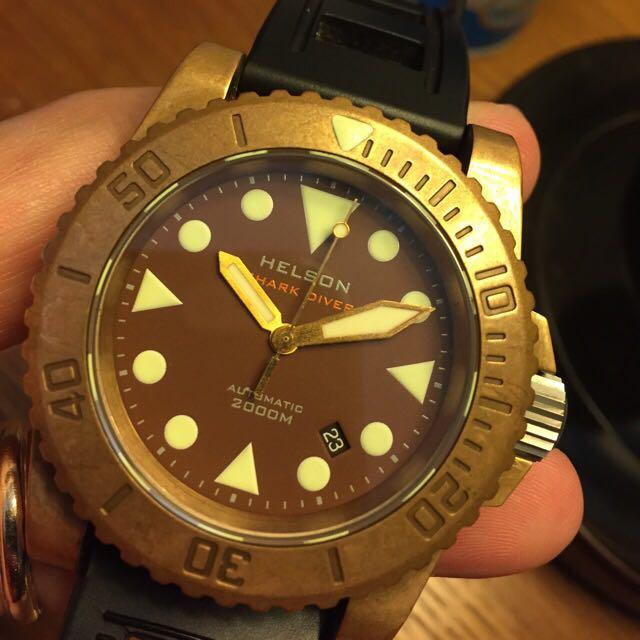 Helson bronze dive watch full set 44mm 90 95 mint men - Bronze dive watch ...
