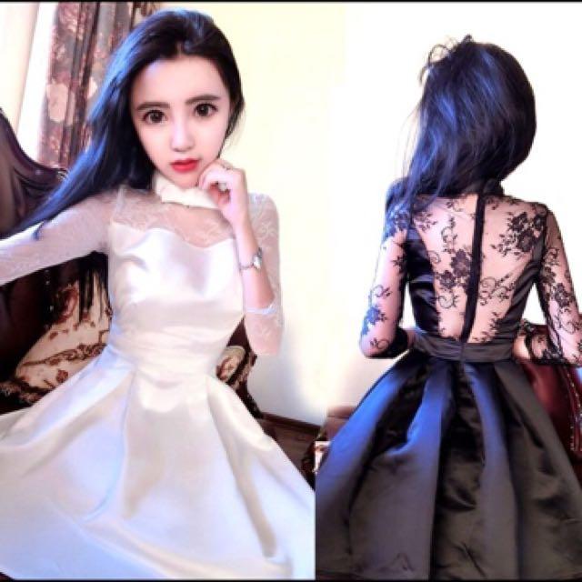 韓版新款時尚💞空運來台💞性感名媛露背蕾絲拼接收腰七分袖大擺連身裙洋裝小禮服