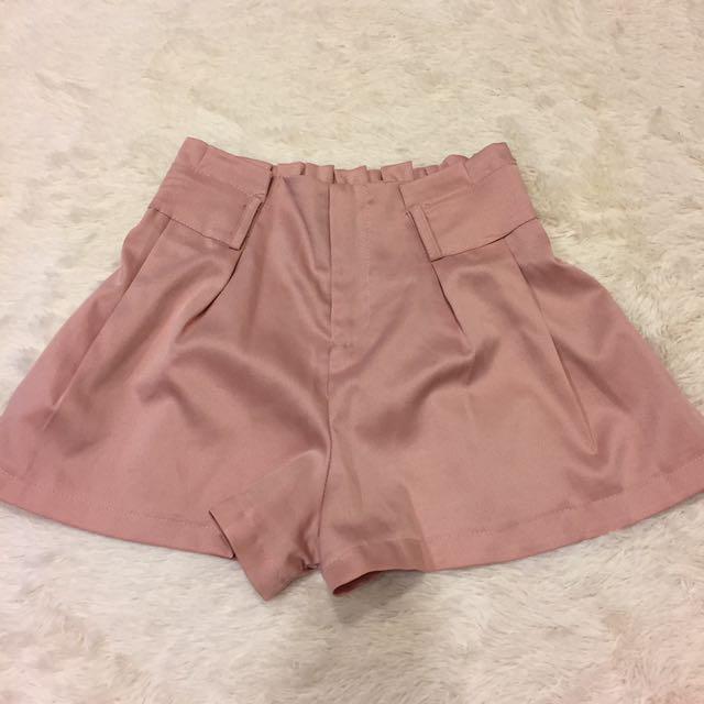 高腰氣質粉紅短褲