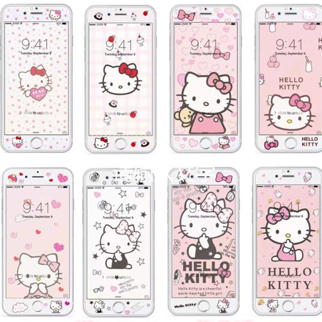 預購 苹果6s彩膜卡通iphone6plus鋼化膜全屏 kitty玻璃