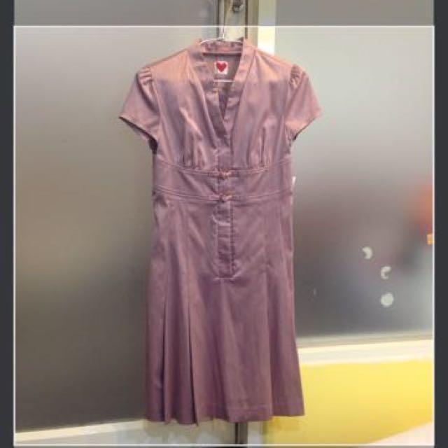 淺紫色緞面 改良式旗袍洋裝