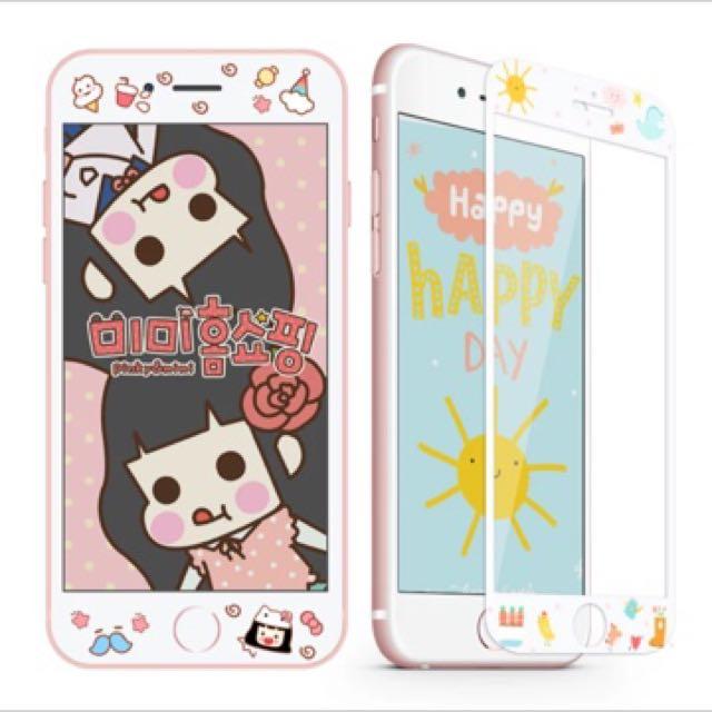 預購 全屏不碎邊鋼化膜iphone6/6s/plus/7/7plus卡通可愛玻璃全覆蓋