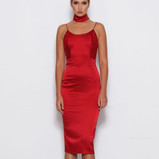 Abyss By Abby - Red 'Squad' Satin Dress - Size XS