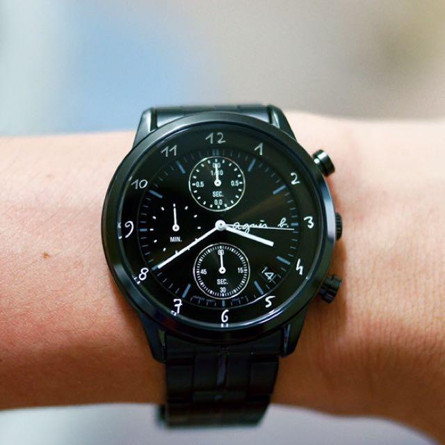 (小謝叔叔)agnes b悠緩步調 計時腕錶BM3002J1(VD57-00A0SD 黑)經典款