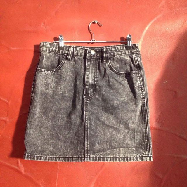 All About Eve Washed Black Denim Skirt
