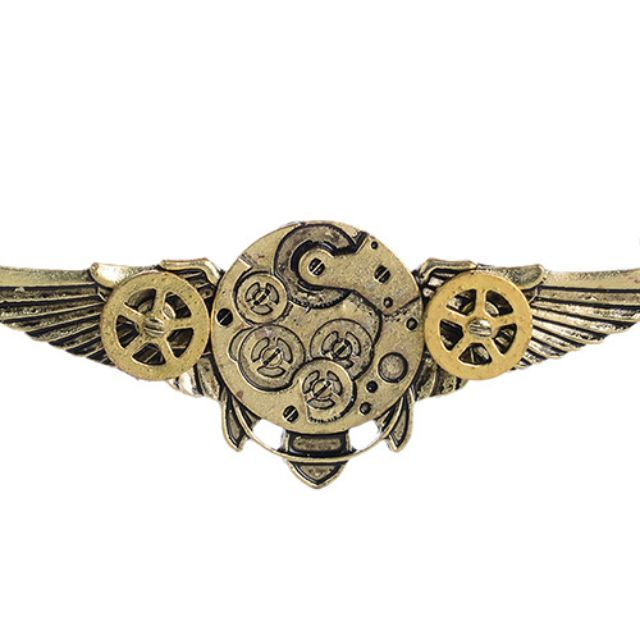 Antique Angle Wings Gears Steampunk Necklace Long Chain Statement Jewelry + Free Shipping