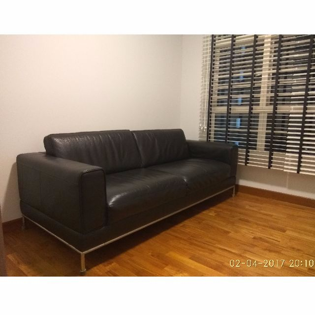 Arild 3 Seater Black Leather Sofa From Ikea Condition 7510