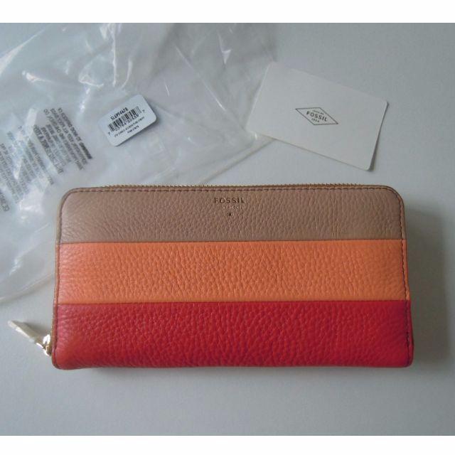 AUTHENTIC Fossil wallet women s wallet leather wallet clutch zipper  compartment phone coin pouch stripe 3dc16fd14e