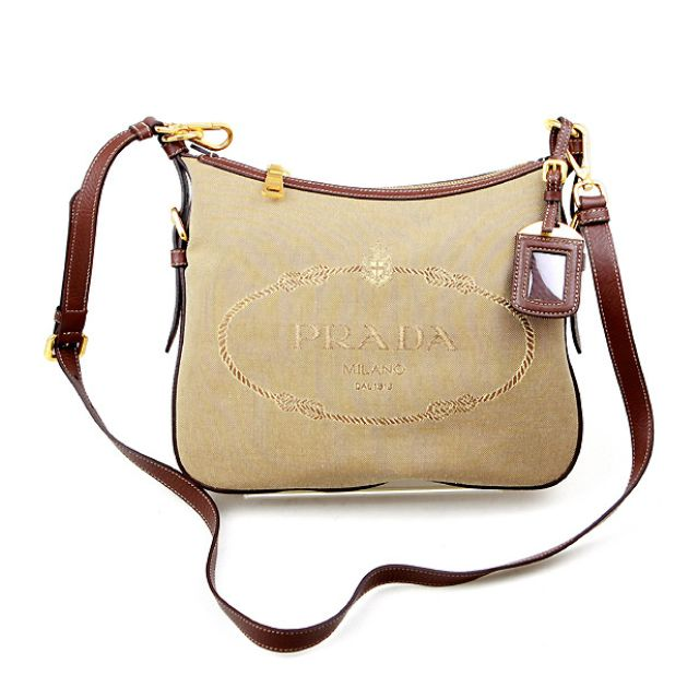 84fdf2325cda Authentic Prada Logo Jacquard Brown Leather crossbody Sling Bag ...