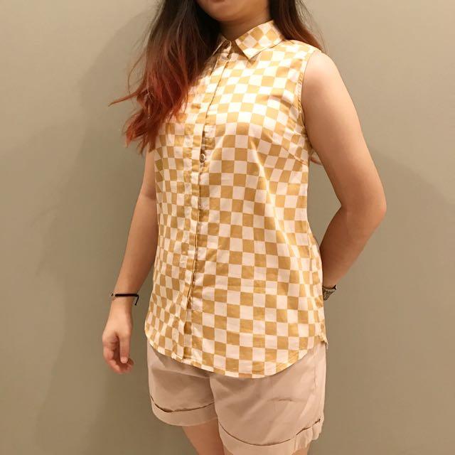 Baju Wanita Kotak Gold White