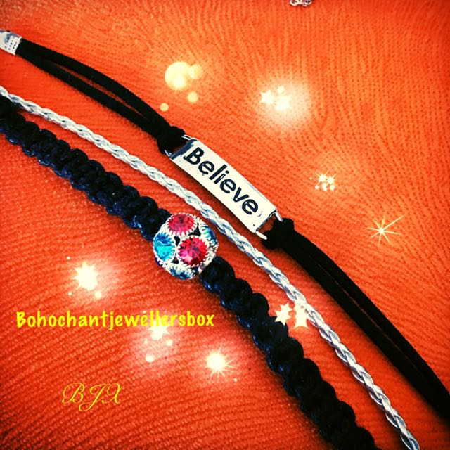Beautiful Black And Silver Friendship Bracelet