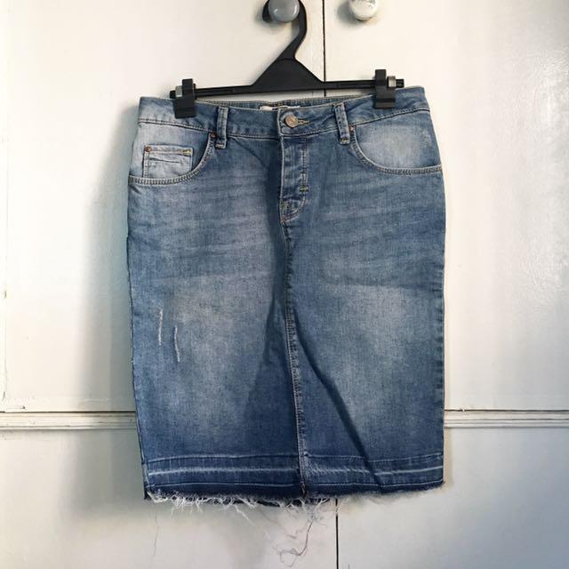 Bershka Denim Pencil Skirt