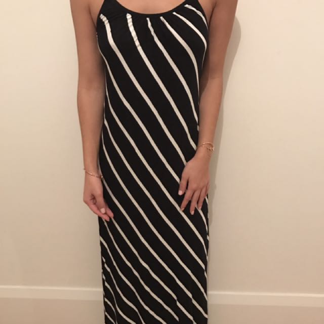 Black And White Stripped Maxi Dress NEW