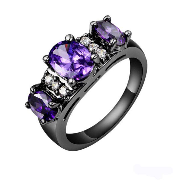 Black Fashion Ring Noble Luxury Elegant Charm Zircon Crystal Jewelry + Free Shipping