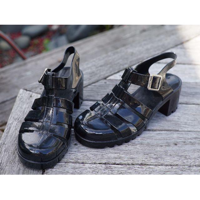 Black Heeled Jellies - sz 8