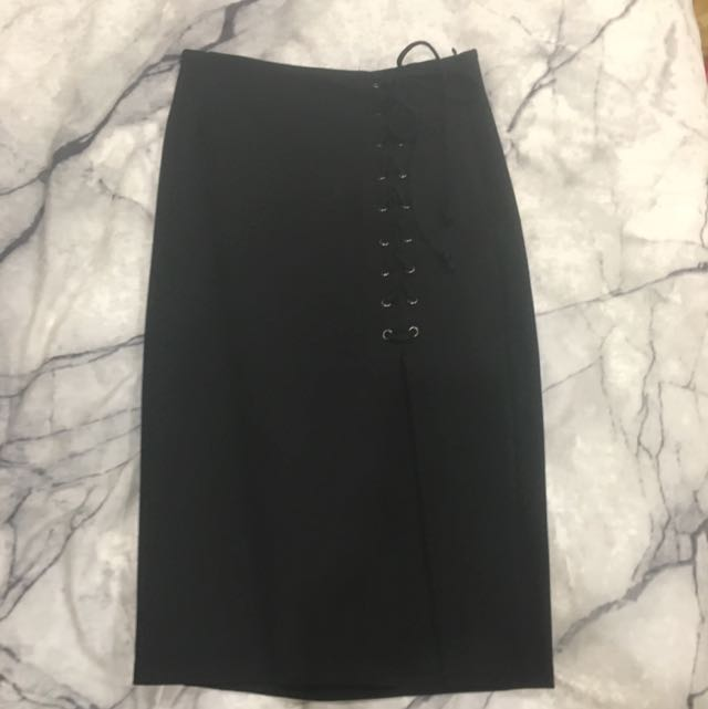 Black Tight Skirt With Corset Tie Detail
