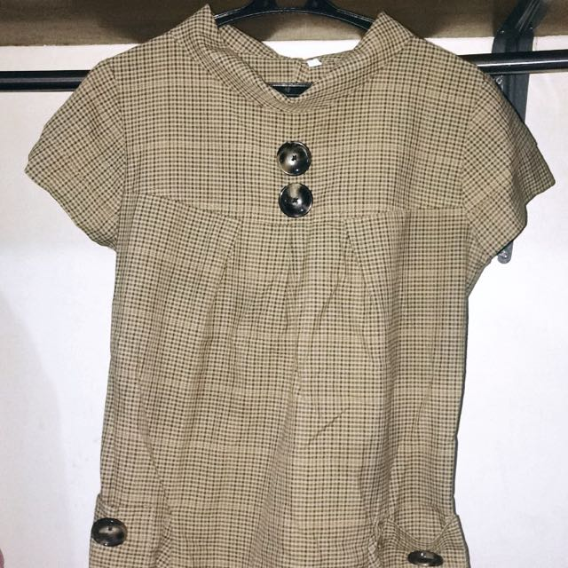 Brown Checkered Long Top