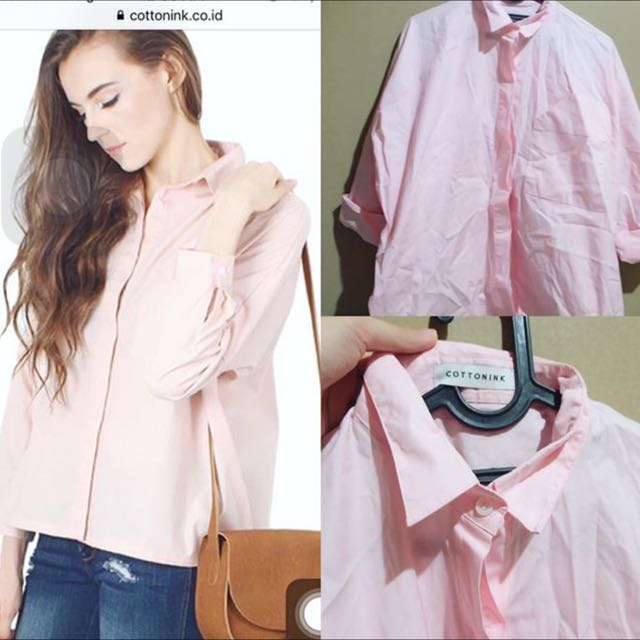 COTTON INK Boxy Pink Shirt