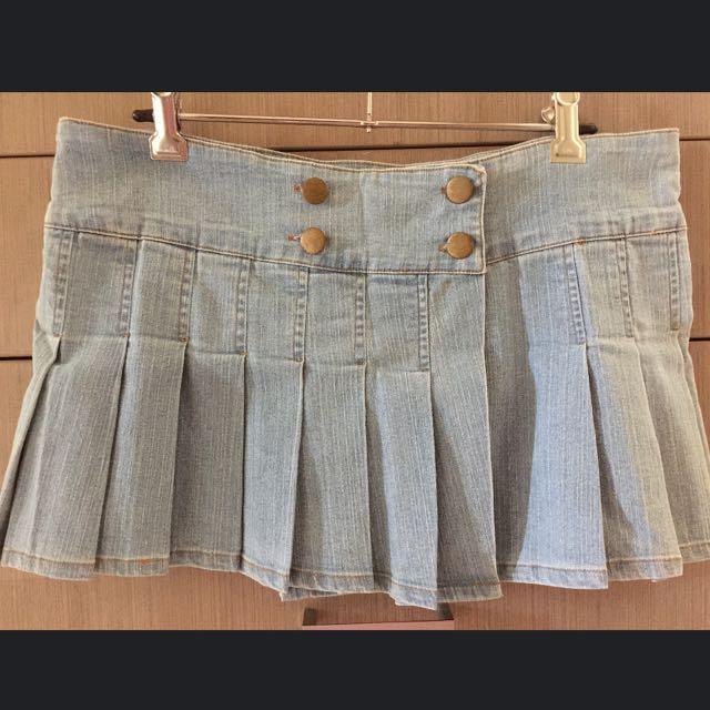 Dotti Denim Mini Pleated Skirt