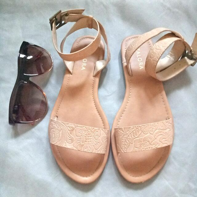 Embossed Ankle Strap Sandals by Zalora