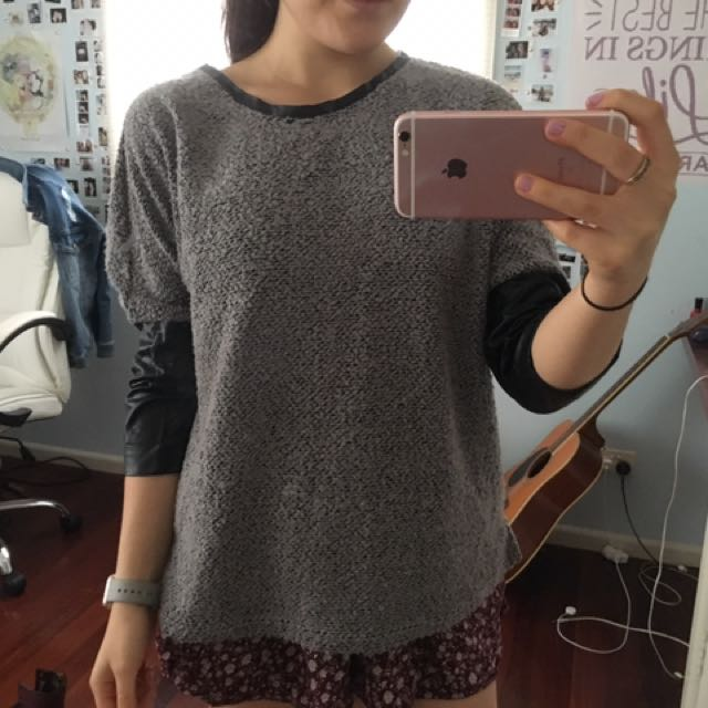 Faux Leather Sleeved Grey Jumper