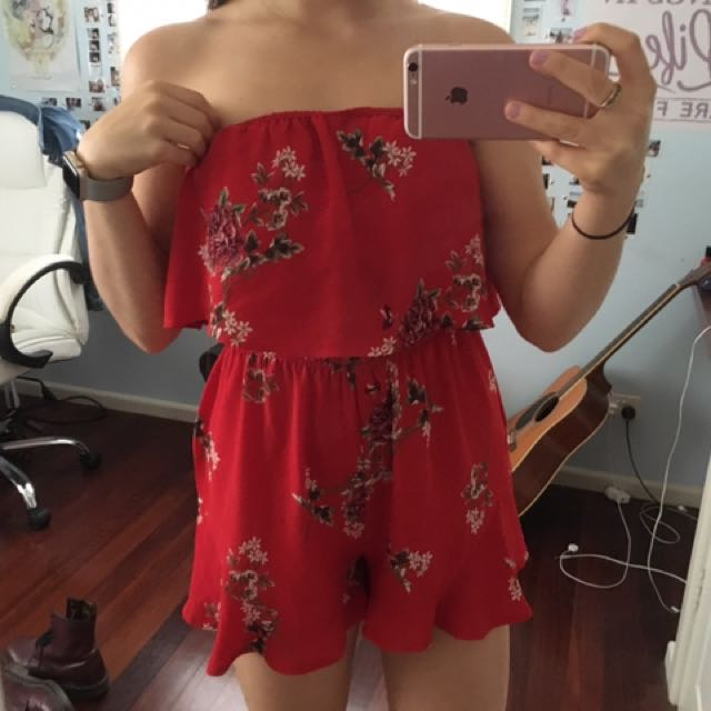 Floral Red Playsuit