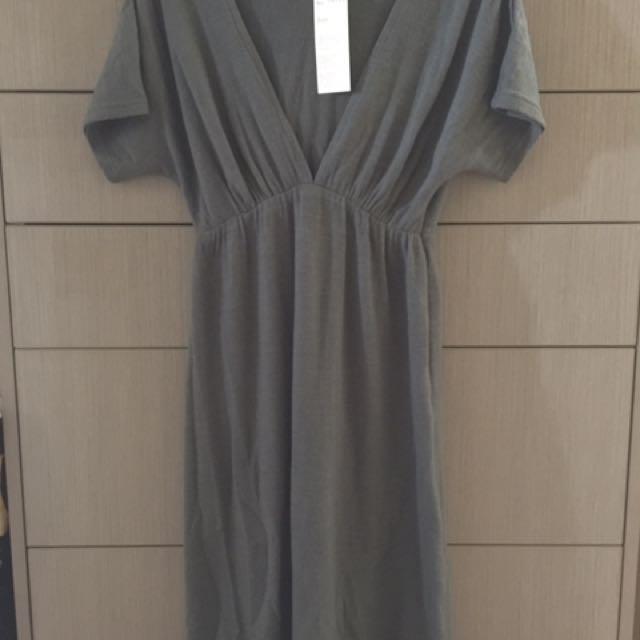 Grey V Neck Dress