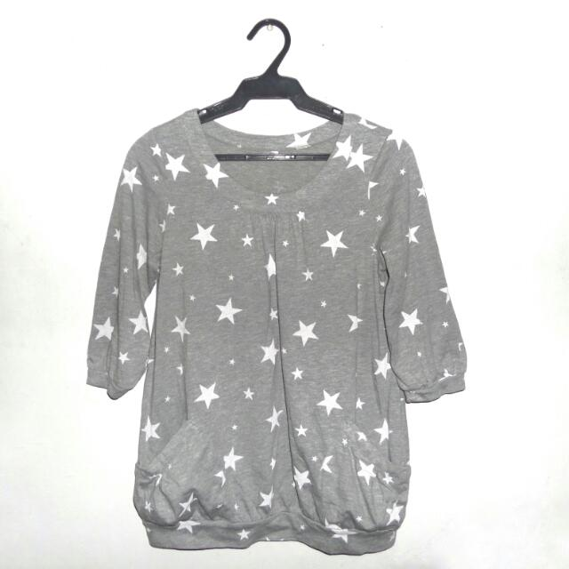 Grey With Stars Print Pullover