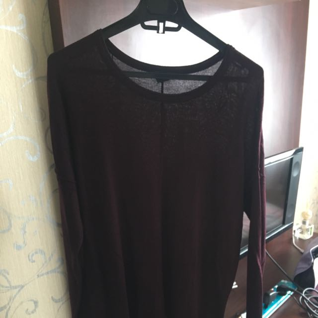 H&M Long Knit Top - Maroon