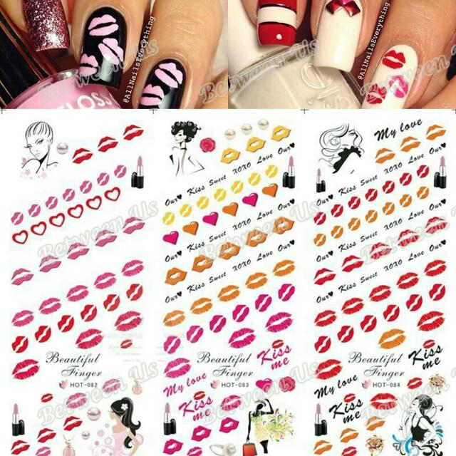 Hot Sale Water Transfer Decal Nail Art Stickers Kiss Me Red Lips ...