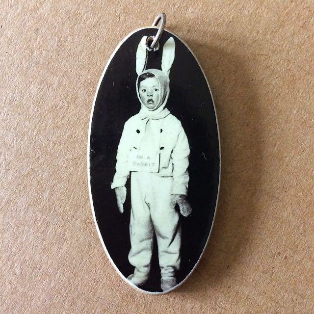 I'm A Rabbit - Vintage Photograph Pendant