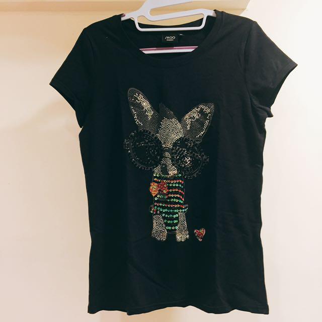 iROO法鬥貼鑽純棉黑T-shirt