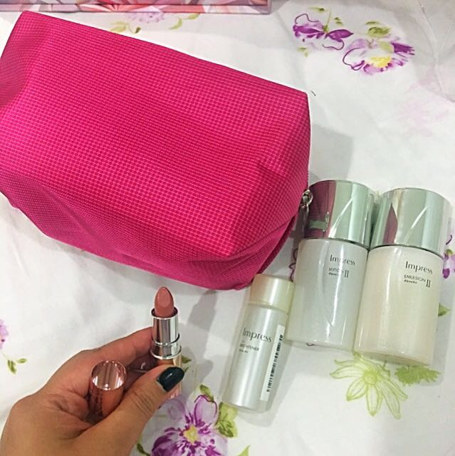 KANEBO IMPRESS LOTION II 25 Ml , KANEBO IMPRESS EMULSION II 25 ml, KANEBO IMPRESS BRIGHTENER 20 ml, Kanebo Mini Lipstick Nude, All Sealed With Pouch
