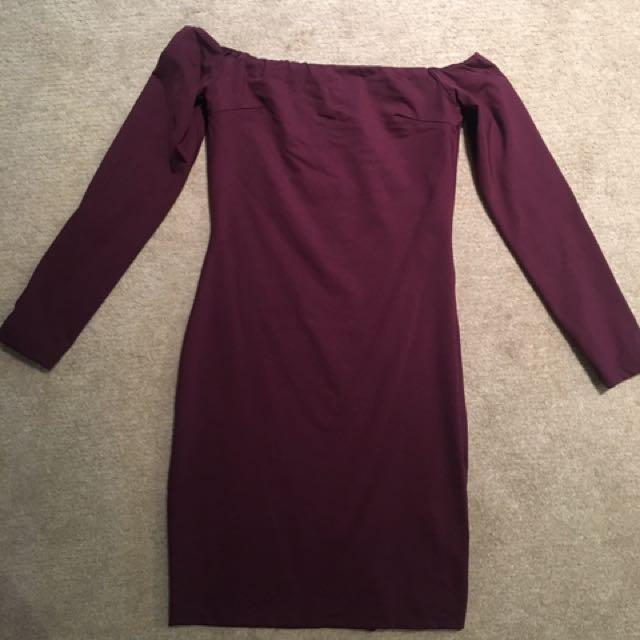 Kookai Maroon Off Shoulder Dress
