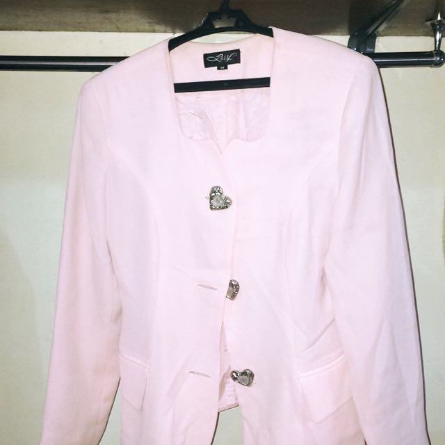 Light Pink Heart Buttoned Coat