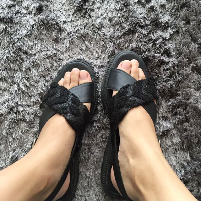 Local Brand Black Lace Sandals