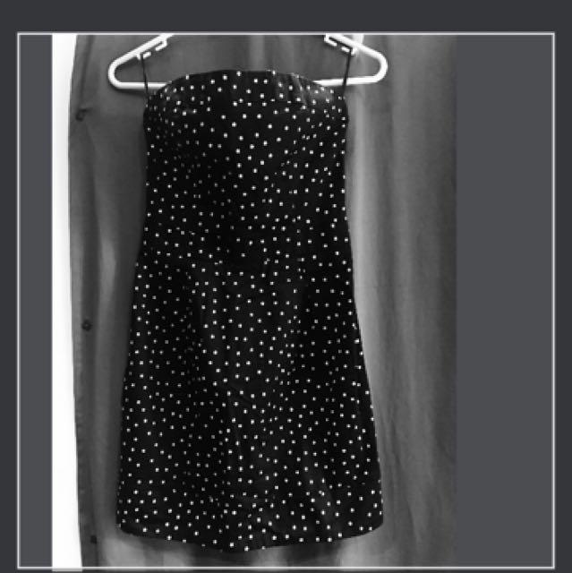 Mango- Xxs Tube Polka Mini Dress