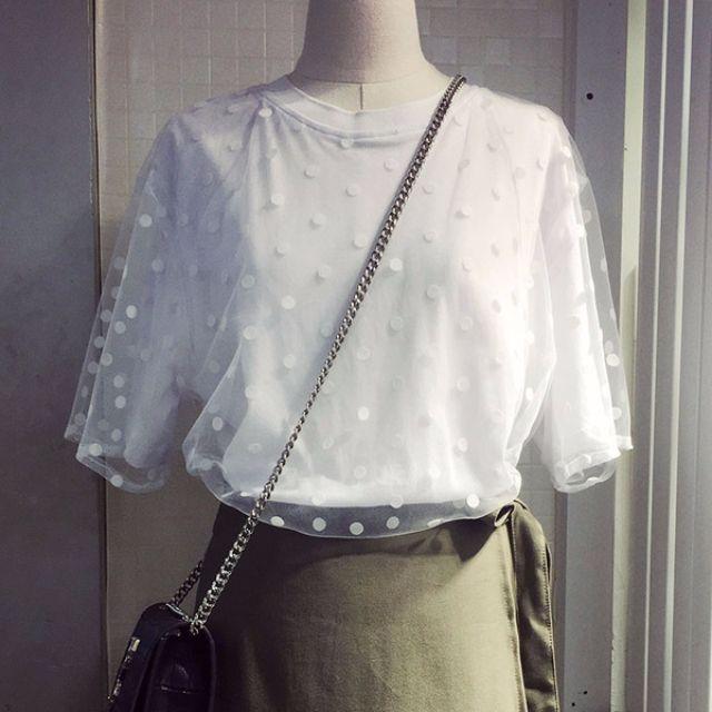 Muses春季新品❤網紗拼接假兩件短袖上衣(二色)