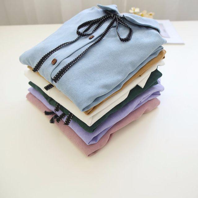 Muses春季新品❤清新蝴蝶結繫帶襯衫上衣(六色)