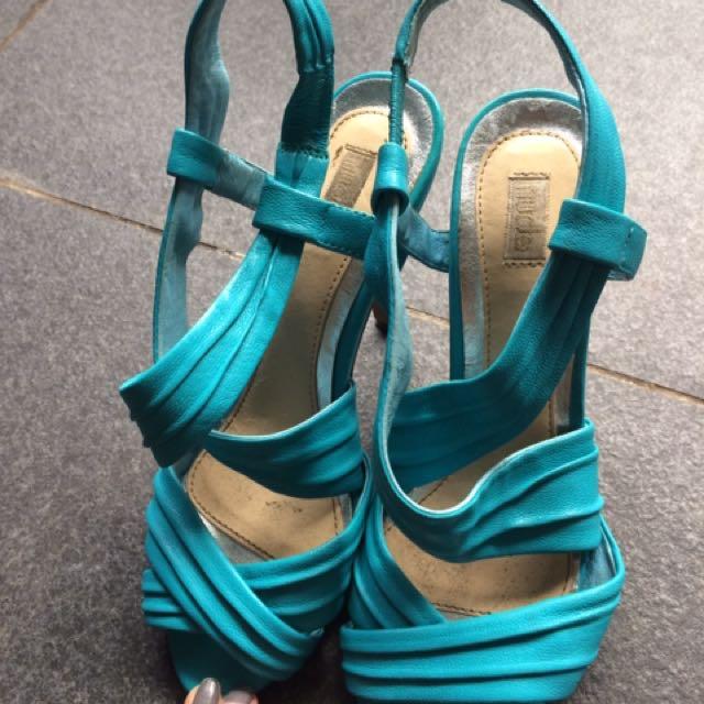Nude footwear leather turquoise Heel