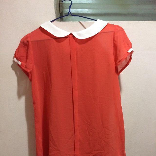 Orange Peter Pan Collar