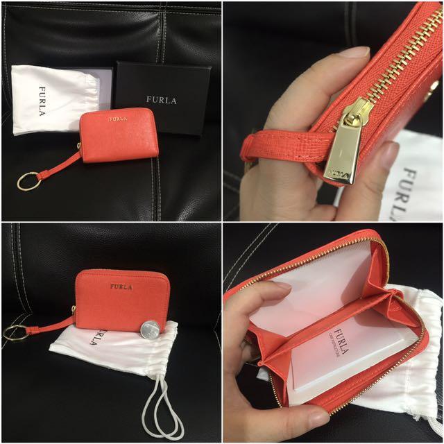 NEW! Furla Small Wallet Orange Original
