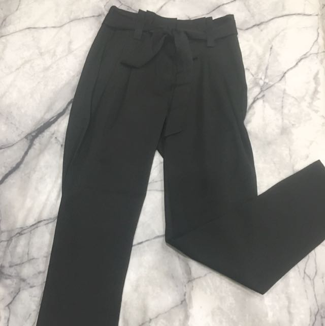 Paper Bag Style Tie Waist High Waisted Black Pants