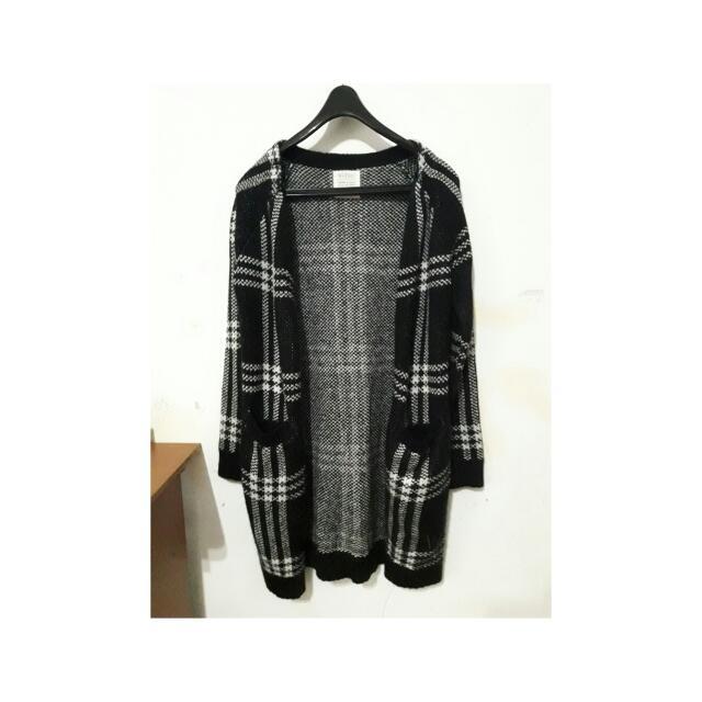 PAZZO簡約格紋寬鬆毛線大衣 毛衣 外套 罩衫 復古中長款外套#冬季衣櫃出清#好想找到對的人