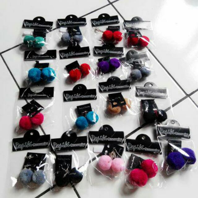 Pompom Earing || Anting Pompom Pom Pom || Anting Bulu